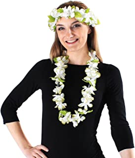 Hawaii Luau Party Artificial Fabric Princess Lei and Head Band Haku Set
