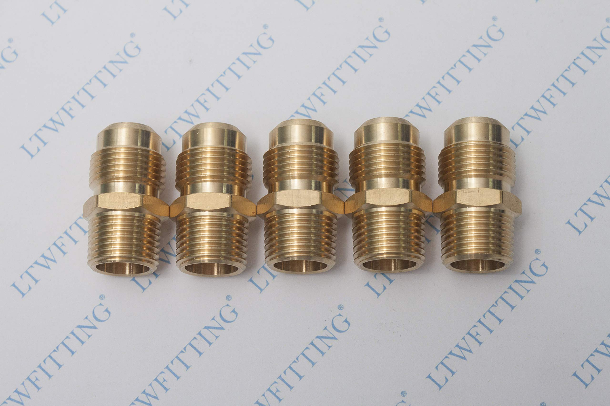 Details about  /Brass Pipe fitting Tube Adapter 2Pcs 5//8 SAE Flare Male 1//2 SAE Female Thread
