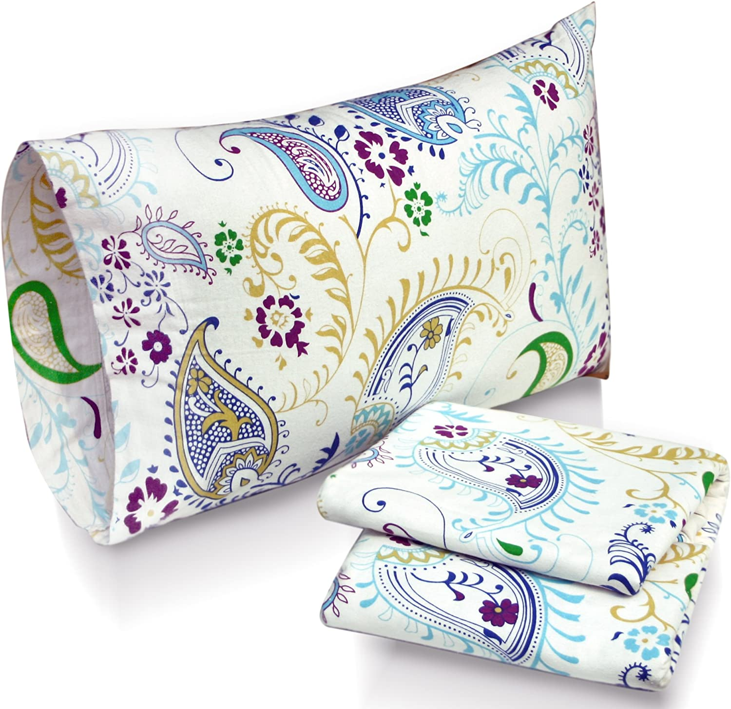 Tribeca Living Paisley Garden Printed Deep Pocket Flannel Sheet Set with Pillowcase, Full
