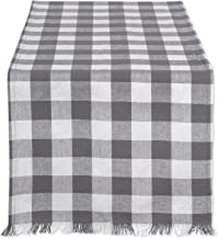 "DII Cotton Woven Heavyweight Table Runner with Decorative Fringe for Spring, Summer, Family Dinners, Outdoor Parties, & Everyday Use (14x72"") Gray Check"