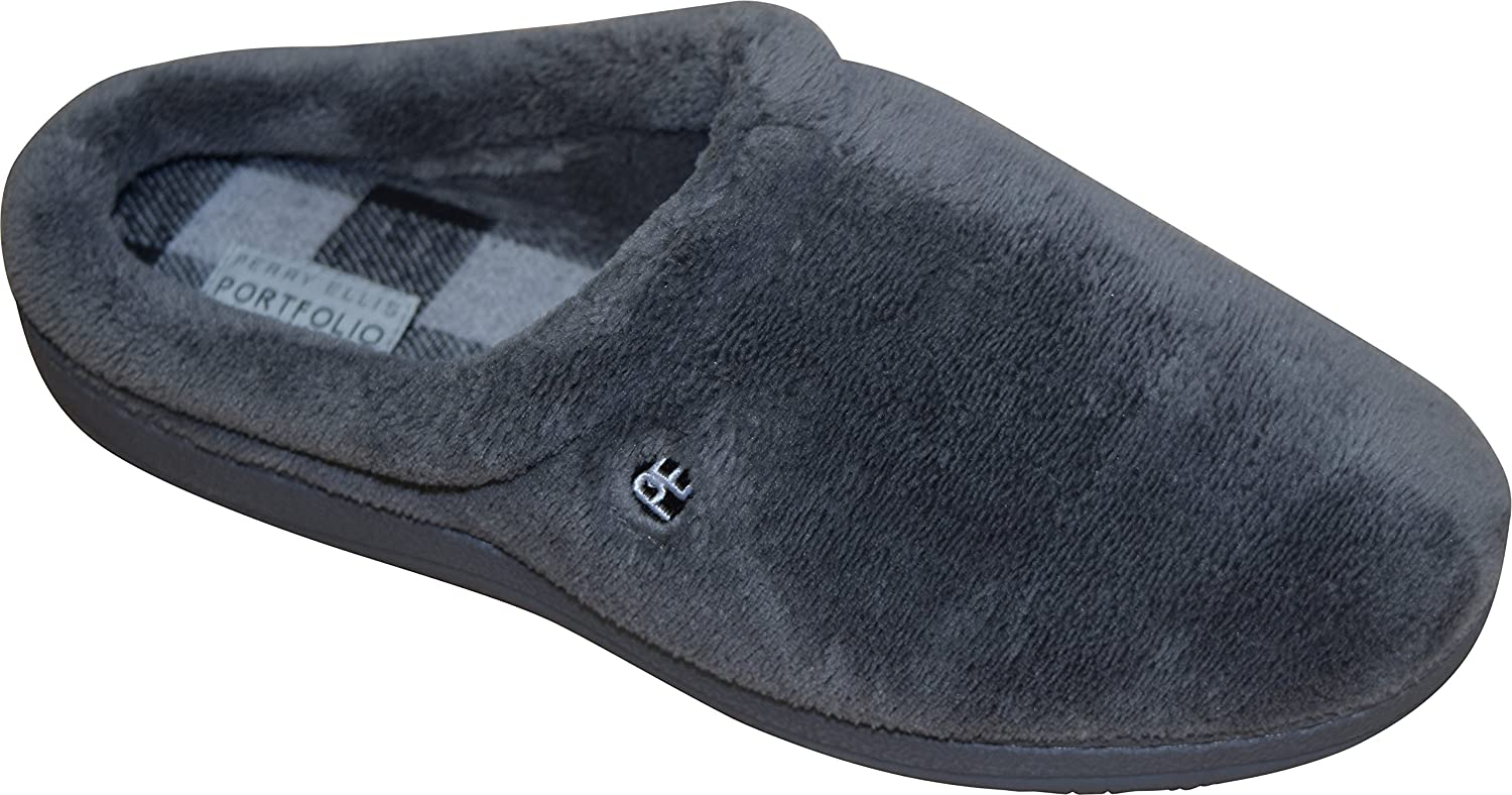 Perry Ellis Men's Micro Terry Micro Suede Clog Slippers
