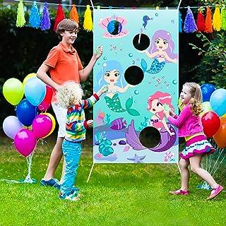 WATINCMermaidTossGameswith3BeanBags, Carnival Birthday PartyFun Game forKidsand Adults,Mermaid Banner for Ocean...