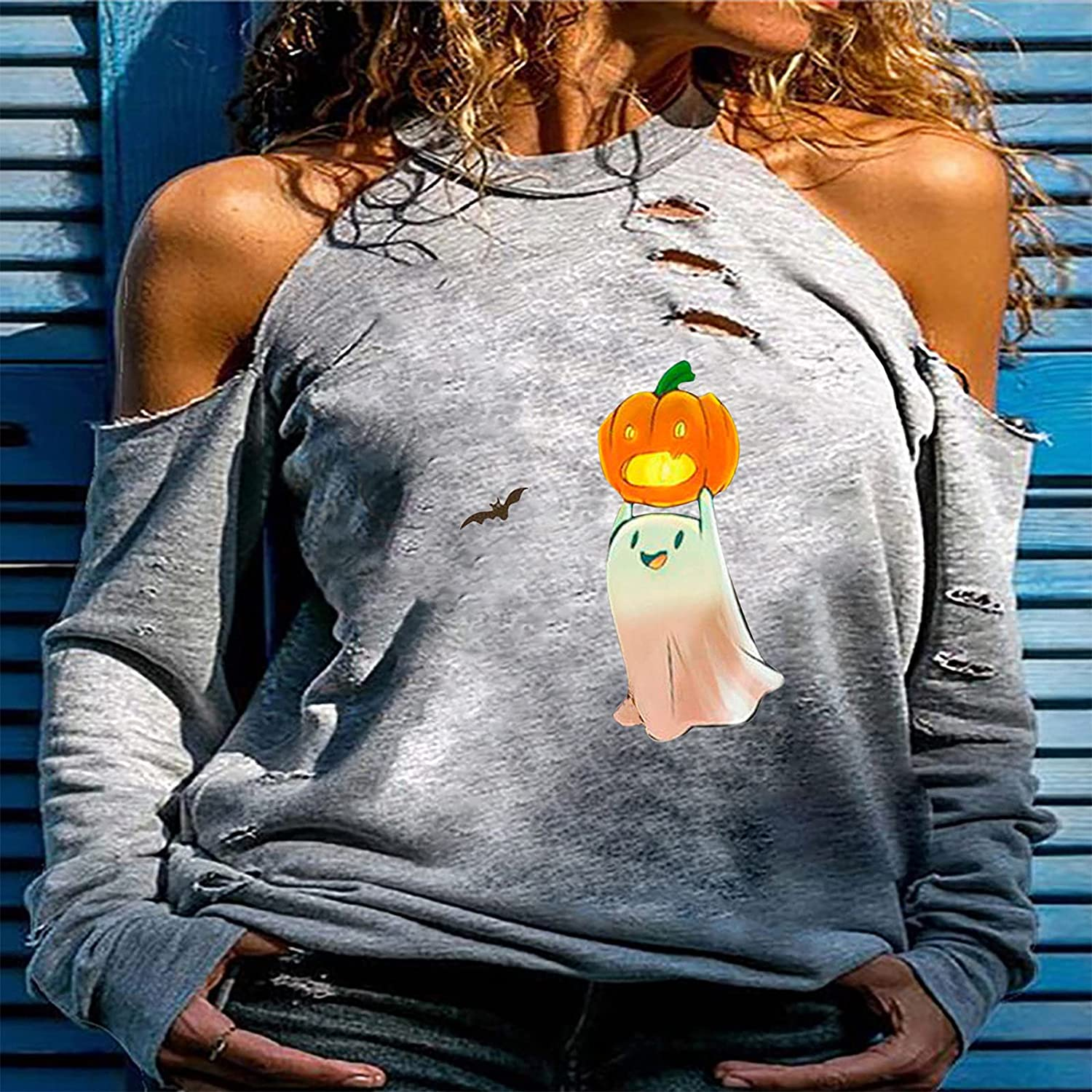 Women's Casual Loose Cold Shoulder Tops Halter Neck Pumpkin Ghost Bat Hollowed Out Long Sleeve Shirts