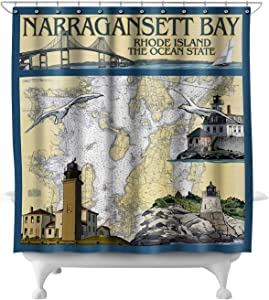 Lantern Press Narragansett Bay, Rhode Island - Nautical Chart 31309 (74x74 Polyester Shower Curtain)