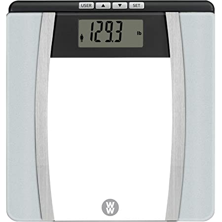 WW Scales by Conair Body Analysis Glass Bathroom Scale, Measures Body Fat, Body Water, Bone Mass & BMI, 4 User Memory, 400 Lbs. Capacity