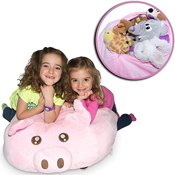 Jumbo Stuffed Animal Storage Bean Bag Soft N Snuggly Comfy Fabric Kids Love Monkey Pig Or Elephant Replace Your Mesh Toy Hammock Or Net Store Extra Blankets Pillows Too