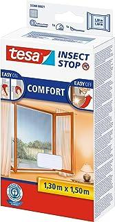 tesa Insect Stop Comfort vliegengaas voor ramen en insectenbescherming met zelfklevend klittenband (130 cm x 150 cm/5-pac...