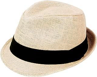 Unisex Summer Straw Structured Fedora Hat w/Cloth Band