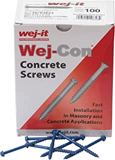 Wej-It Wej-Con Concrete Screws 100 Pack - Drill Bit Included - Carbon Steel Corrosion Resistant for Indoor Outdoor Home/Office Improvement (Hex Washer Head with Slotted Drive (3/16 x 2-3/4)
