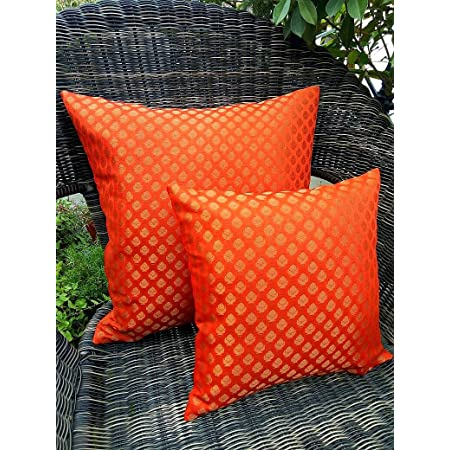 Royal DecoFurnishing 'Brocade Silk Cushion Covers (Tango Orange and Golden,  24x24 inches, 60x60 cms) - Set of 2: Amazon.in: Home & Kitchen