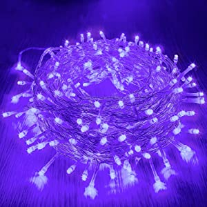 88FT 240 LED Purple Halloween Lights String Indoor Outdoor, 8 Modes Clear Wire Twinkle Lights Safe Plug in Christmas Lights for Xmas Tree Home Decorations