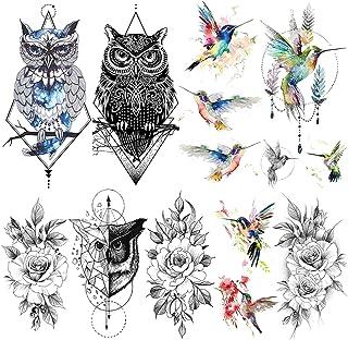 LAROI 9 Hojas Acuarela Colibrí Tatuajes Temporales Falsos Para Adultos Mujer Niñas Hummer Pájaros Geométrico Búho Impermeable Tatuaje Temporal Pegatinas Negro Rosa Flor Sexy Geometría Cuerpo Pecho