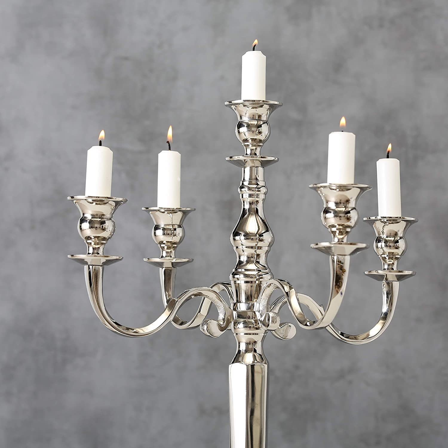 Hand Crafted of Silver Aluminum Nickel 14.5 D x 25.5 H Inches WHW Whole House Worlds Romantic Hamptons 25 InchTall Five Candle Silver Candelabra 37 D x 65 H cm