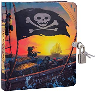 MOLLYBEE KIDS Pirate Ship Glow in The Dark Lock and Key Diary