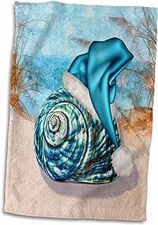 """3dRose 3D Rose Coastal Beach Christmas Seashell Blue Santa Hat Twl_203017_1 Towel, 15"""" X 22"""""""