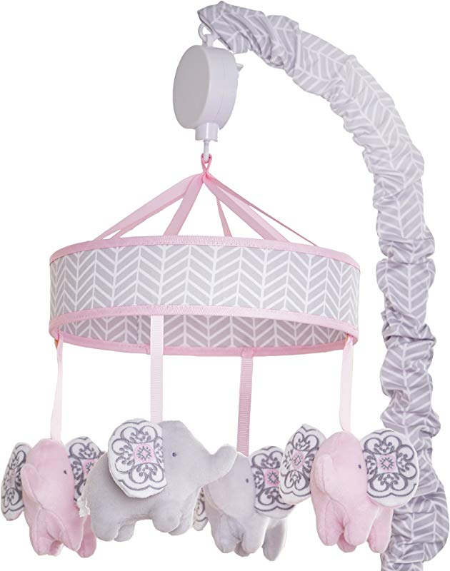 Wendy Bellissimo Baby Mobile Crib Mobile Musical Mobile Elephant Mobile From The Elodie Collection In Pink And Grey