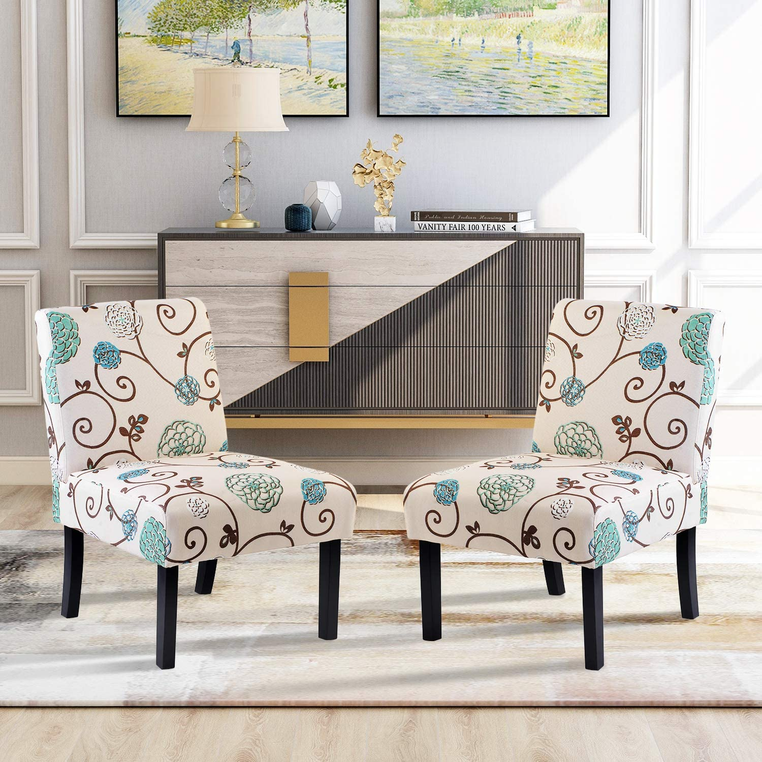 Accent Chair Set Of 2 Armless Accent Chairs For Living Room Entryway Bedroom Armless Slipper Chair Set Of 2 Fabric Kitchen Dining