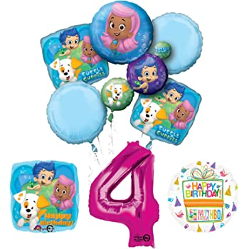 Party Supplies Viva Party Bubble Guppies Balloon Bouquet 4th Birthday 5 pcs