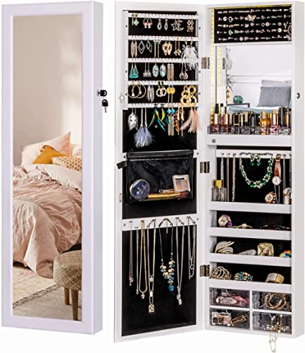 Luxfurni LED Light Jewelry Cabinet Wall-Mount/Door-Hanging Mirror Makeup Lockable Armoire, Large Storage Organizer w/...