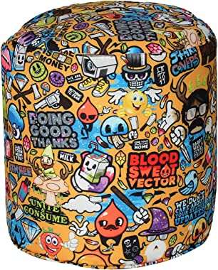 Sattva Gamer Zone Large Round Footstool Without Beans - Yellow Cartoon