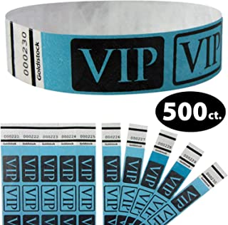 """Tyvek Wristbands - Goldistock VIP Deluxe Bright Blue 500 Count - ¾"""" Arm Bands - Paper-Like Party Armbands - Heavier Tyvek Wrist Bands = Upgrading Your Event"""