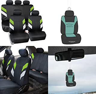 FH Group FB086115 Modern Edge Neoprene Seat Covers, Airbag & Split Ready, Green/Black Color