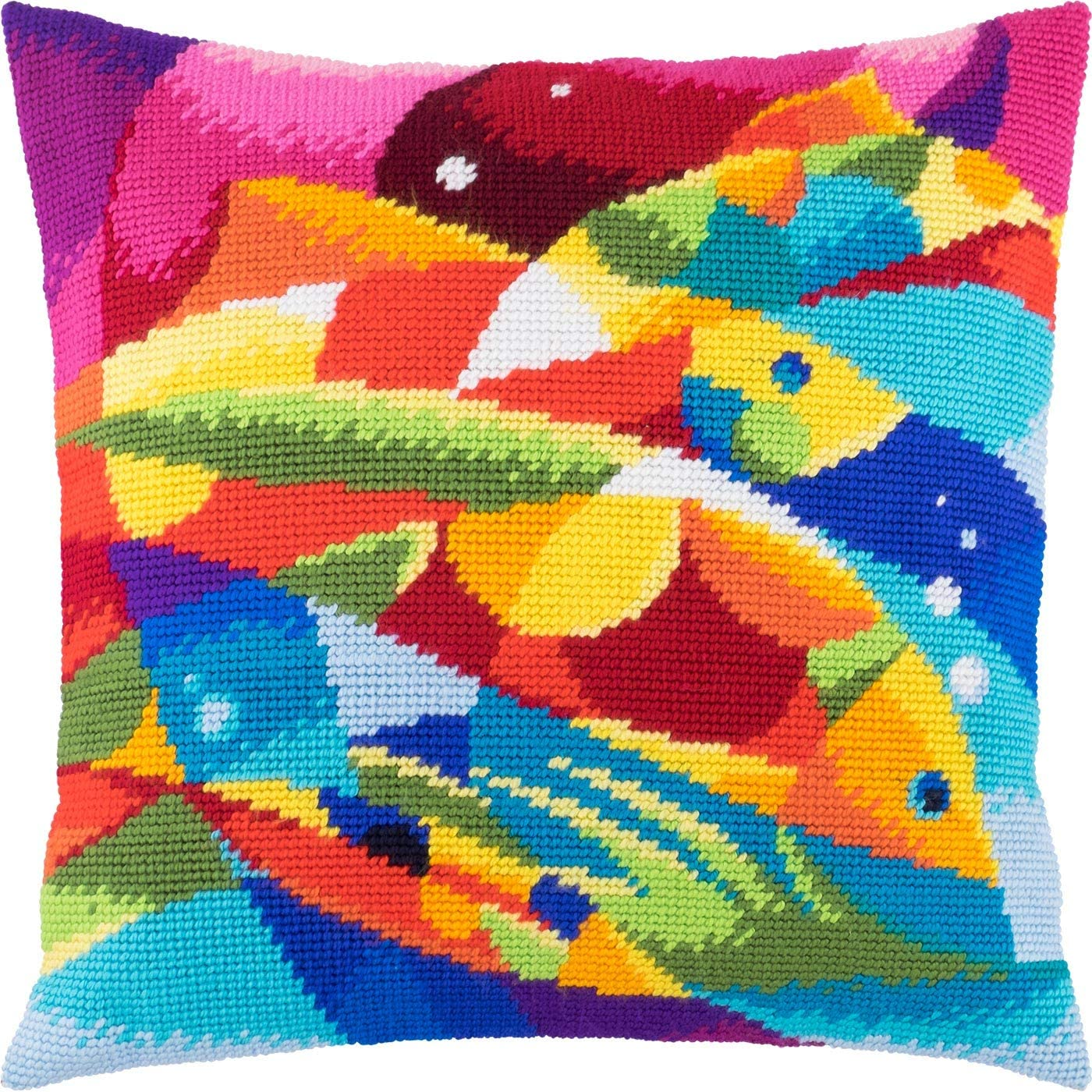 Abstract Fish. Needlepoint Kit. Cheap Throw Inches. SALENEW very popular! 16×16 Print Pillow