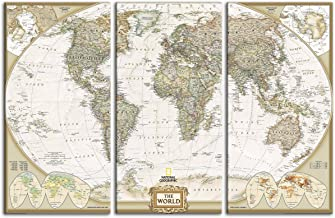 Map Painting for Wall Office Decor Modern Giclee Wall Art Globe Continents World Map 3 Panels Canvas Artwork Earth Geography Pictures Framed for School Living Room Bedroom(40''H x 60''W)