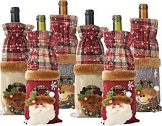 Nrpfell 6 Pack Christmas Wine Bottle Bags,Vintage Wine Bottle Covers,Snowman Santa Claus Elk,for Christmas Decorations Xma...