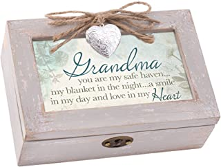 Cottage Garden Grandma Safe Haven Blanket Smile Natural Taupe Jewelry Music Box Plays Wind Beneath My Wings