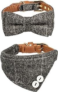 Gyapet Collar for Cat Small Dog Bandana Bowtie Puppy Kitten 2 Packs Adjustable Scarf Cute Camo Grey Classic