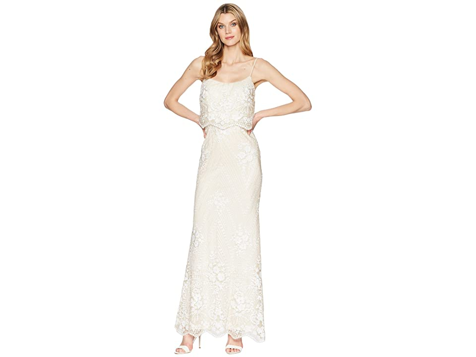 Adrianna Papell Sequin Popover Gown (Pearl) Women