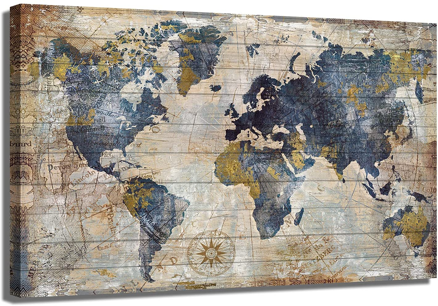Juhuso sold out World Map Wall Art for 25% OFF Vintage Grain, Wood Office Blue