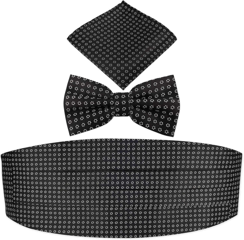 Mens' Daisy Floral Jacquard Cummerbund & Bow Tie Pocket Square Set - Black