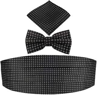 KOOELLE Mens' Daisy Floral Jacquard Cummerbund & Bow Tie Pocket Square Set, Black, Standard