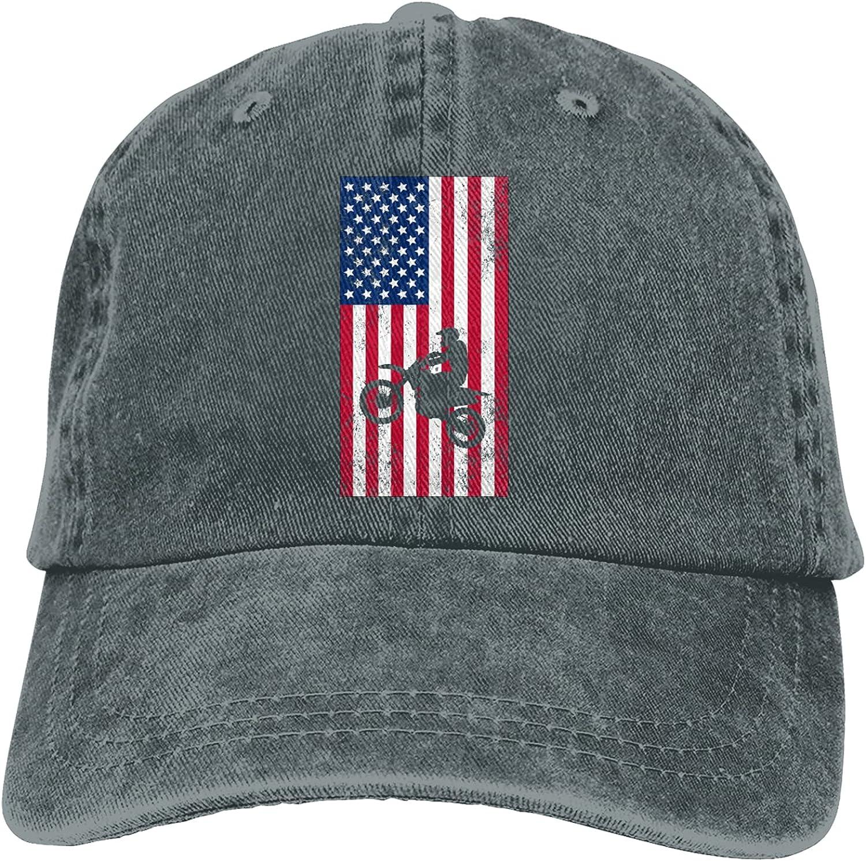 CUTEDWARF USA Flag Dirtbike Motocross Unisex Adjustable Cotton Baseball Hat Cowboy Cap Dad Hats Denim Trucker Hat