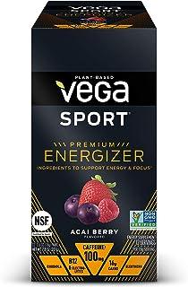 Vega Sport Premium Energizer, Acai Berry Pre-Workout Energy Drink - Certified Vegan, Vegetarian, Gluten Free, Dairy Free, ...