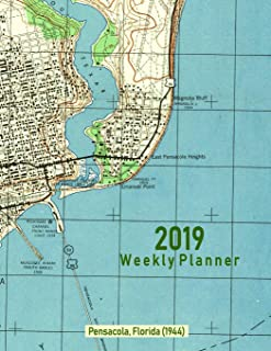 2019 Weekly Planner: Pensacola, Florida (1944): Vintage Topo Map Cover