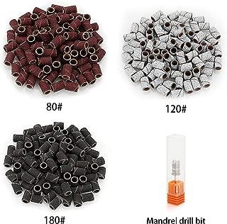 Belle 300pcs Sanding Bands Grit File for Professional Nail Manicure Drill 3 Colors 80 120 180 Grits Each 100pcs