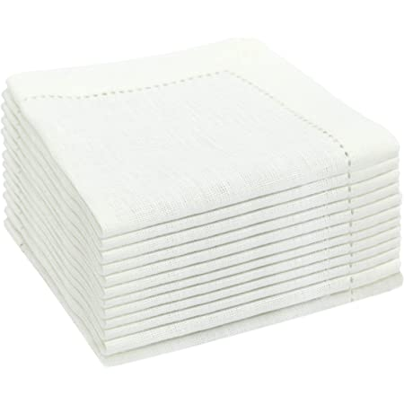 Amazon Com Cotton Craft Classic Cocktails Set Of 12 Linen Hemstitch Cocktail Napkins 5 Inch Square Folded Creamy White Home Kitchen