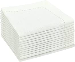 COTTON CRAFT 12 Pack Cocktail Napkins 10x10 Inch Creamy White -100% Linen -Tailored with Mitered Corners and a Generous Hem