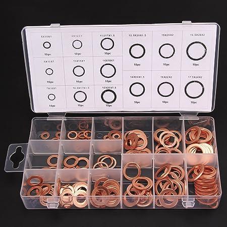 Multiware 150 Teiliges Kupferringe Sortiment Dichtringe Dichtungsringe Ölablaßschrauben Set Baumarkt