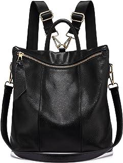 Rucksack Damen Elegant Leder Schulrucksack Umhängetasche Handtaschen Schulranzen Schultasche Daypack Schultertasche große größen Schwarz