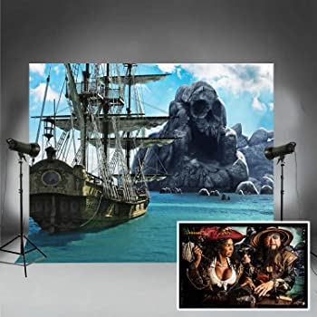 10x8ft Black Pirate Ship Backdrop for Birthday Party Photos Booth Background Photography Studio Props WQFU074