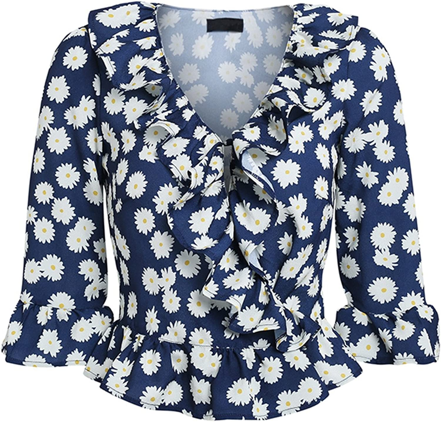 FJDirect Sexy Dot Ruffle Blouse Women Vintage Long Sleeve VNeck Cotton Summer Blouse