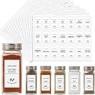 Aozita White 399 Printed Spice Jar Labels Stickers, Extra Write-on Labels for DIY, Farmhouse Waterproof Spice Labels for S...