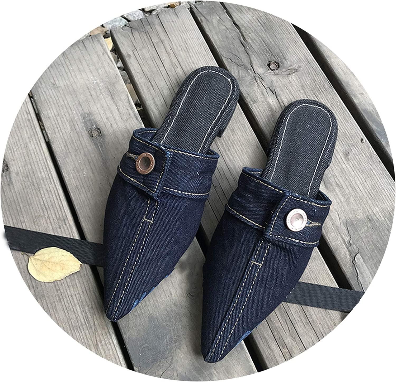Women Pointed Toe shoes Flats Jeans Slippers Female Slides Designer Slippers,Navy bluee,35
