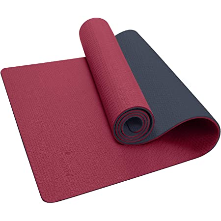 Akaslife Yoga Mat with Alignment Lines,Classic Pro TPE Yoga Mat Eco Friendly Non Slip Textured Surfaces /¼-Inch Thick High Density Padding to Avoid Sore Knees Fitness Exercise Mat