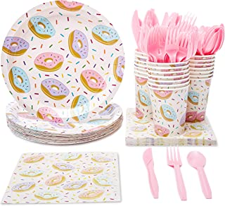 Juvale Donut Party Supplies (Serves 24) Knives, Spoons, Forks, Paper Plates, Napkins, Cups