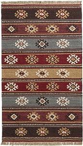 The Indian Arts Zanskar India Kilim Alfombra Gris Rojo Beige Colores 80% Lana 20% algodón, 75x 120cm
